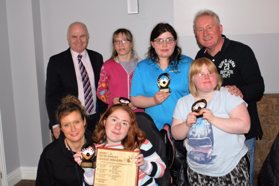 L to R back row: Jordan Carson, Grace Hallam, Annabel Jaggers - front: Charlotte Volante with carer - Senator Andrew Green (left) and Mark Jones (right)