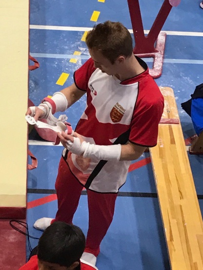 Alex Buesnel preparing for Day 1 of competition