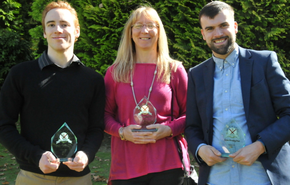 Alex Buesnel, Yana Vibert and Alex Hilton with their finalist awards at St. John's Manor